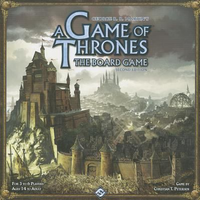 Cover Art a castle on a mountain. Text says George R. R. Martin's A game of thrones the board game. second edition. For 3 to 6 players. Ages 14 to adult. By Christian T. Petersen