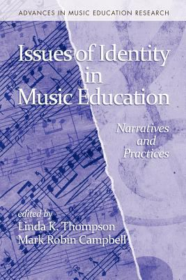 Cover of Issues of Identity in Music Education with a piano score on the left and a large partial treble clef on the right.