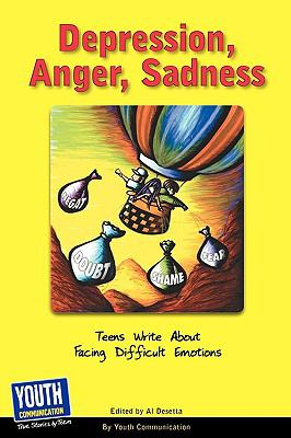 yellow book cover with red title text and cartoon of hot air balloon with weights labeled with negative feelings