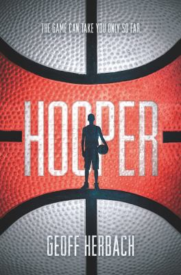Silhouette of a boy holding a basketball and the cover of the book is a yellow and red-orange basketball