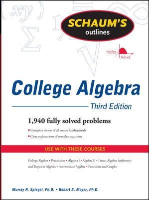 book cover Schaum's outline of college algebra