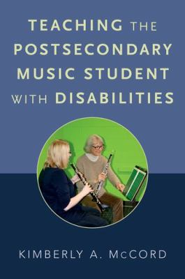 Teaching the Postsecondary Music Student with Disabilities book cover. Two people playing clarinets.