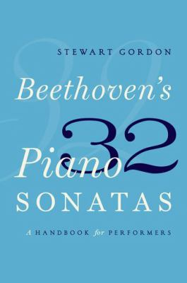 Blue cover of Beethoven's 32 Piano Sonatas with text in white and dark blue.