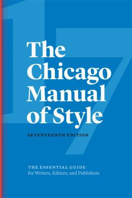 image of The Chicago Manual of Style 17 edition book cover