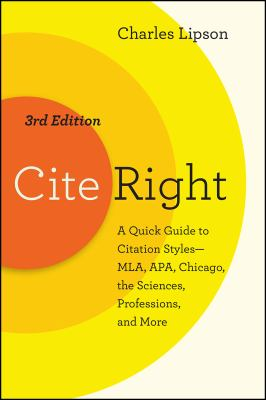 Cover Art for Cite Right, Third Edition by Charles Lipson