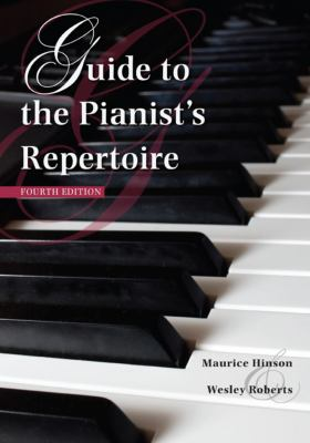Cover of Guide to the Pianists Repertoire with a color photograph of a piano keyboard serving as the background.