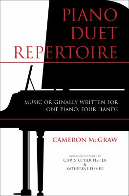 White cover of Duet Repertoire with image of a grand piano at full staff and text in red.