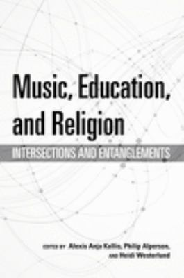 White cover of Music, Education, and Religion with intersecting circular black lines in the background.