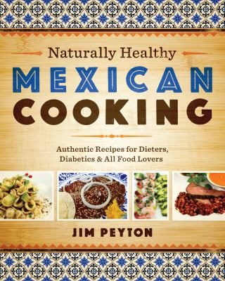 tan book cover with patterned top/bottom border with photographs of healthy Mexican dishes
