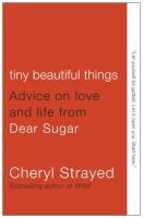Cover image of tiny beautiful things. Cover is mostly red, with white and black text.