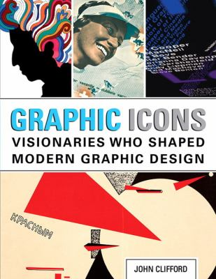 A book cover with a collage of images of iconics graphic designs. The title text is blue and gray on a white banner.