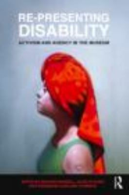 book cover for re-presenting disability. A woman wearing a red headdress stares into the distance.