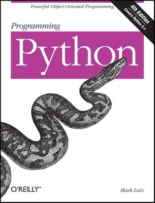 A book cover with a black and white illustration of a python snake. The title text is white on a pink banner.