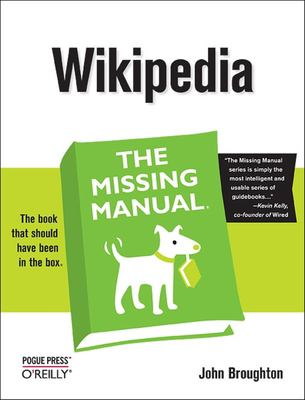 Text: Wikipedia the Missing Manual, Image green book with white cartoon dog