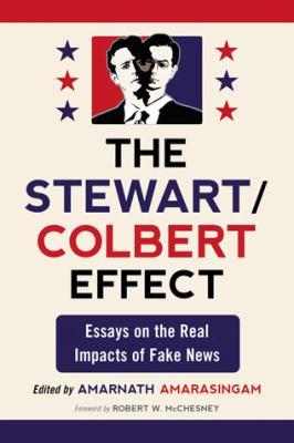 Book Cover inspired by the US government posters, red and blue with the black & white portraits of Jon Stewart and Stephen Colbert overlapping like a person with two-heads