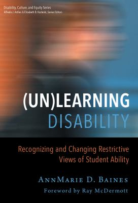 Book cover for (Un)learning Disability. A blurry person in profile.