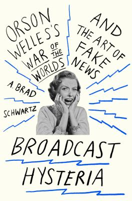Book cover, white background, in centre, black & white image of a woman screaming in panic, surrounded by squiggles representing radio waves reaching out like sun beams
