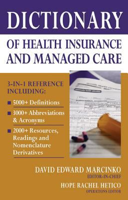 Book jacket for Dictionary of Health Insurance and Managed Care