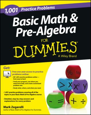 book cover 1001 basic math & pre-algebra practice problems for dummies