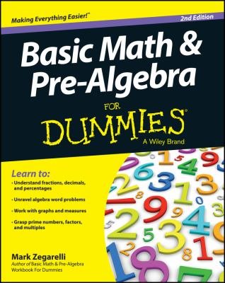 book cover: Basic Math and Pre-Algebra for Dummies