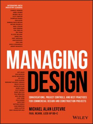 book cover: Managing Design: conversations, project controls, and best practices for commercial design and construction projects
