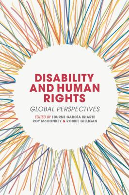 Book cover for Disability and Human Rights. Many colorful strings form a circle around the words.