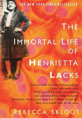 red-orange book cover showing cells and a photograph of Henrietta Lacks in the top right