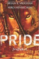 Cover of the book Pride of Baghdad, with white text in front of an image of a lion's face, partially hidden behind foliage
