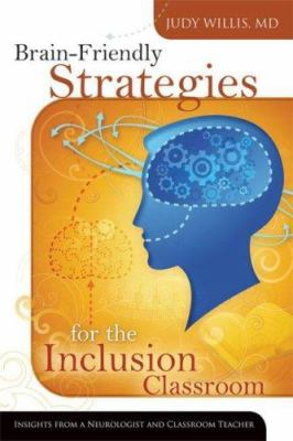 white background with orange inset that has a blue head silhouette showing gears where the brain would be, cover of brain friendly strategies for the inclusion classroom