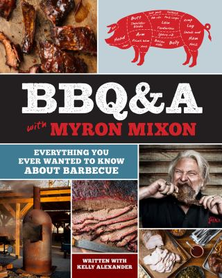 book cover image with photos of different meats, a diagram of pork cuts, and a person eating ribs