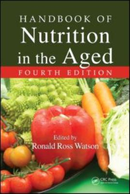 green book cover with white text of Handbook of Nutrition in the Aged and pictures of vegetables