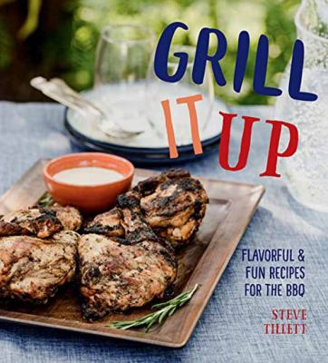 book cover image with grilled chicken pieces on a wooden serving board