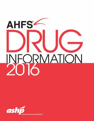 Red and white AHFS Drug Information book cover