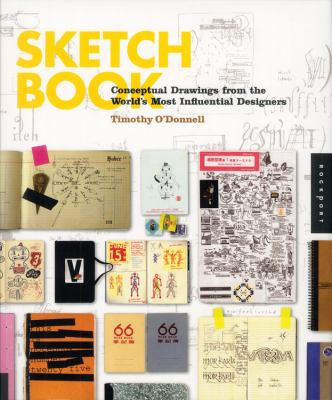 A book cover with a collage of different sketch book pages. The title text is yellow.