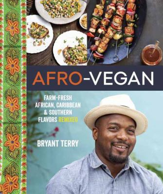book cover with two pictures of Afro-vegan dishes and photo of author