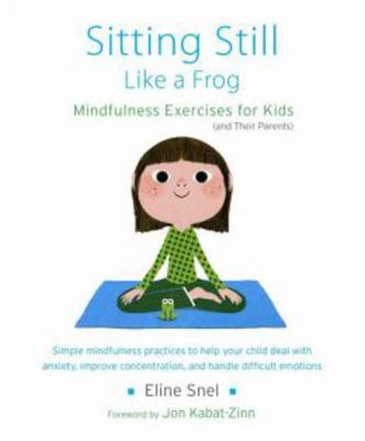white book cover with illustration of young girl sitting on yoga mat