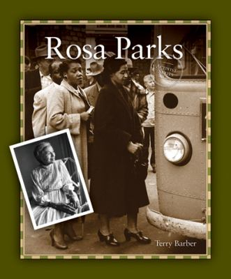 Cover Art features a dark green border with a large picture of Rosa Parks next to a bus, with a smaller picture of her on the lefthand side.