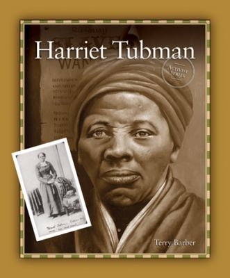 Cover Art featuring a mustard yellow border around a large picture of Harriet Tubman, with a small full length picture of her on the bottom lefthand side.