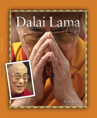 Cover Art features a yellow border with a large picture of the Dalai Lama with his hands folded, with a small portrait picture of him on the lower left.
