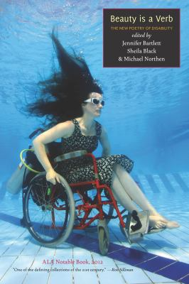 Beauty is a Verb book cover. A woman underwater, in a wheelchair.