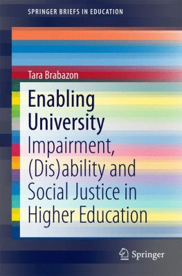 Book cover for Enabling University. Colorful striped cover.