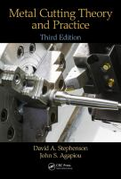 Metal cutting theory and practice by Stephenson, David A., 1959- author.