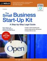 The Small Business Start-up Kit : A Step-by-Step Legal Guide